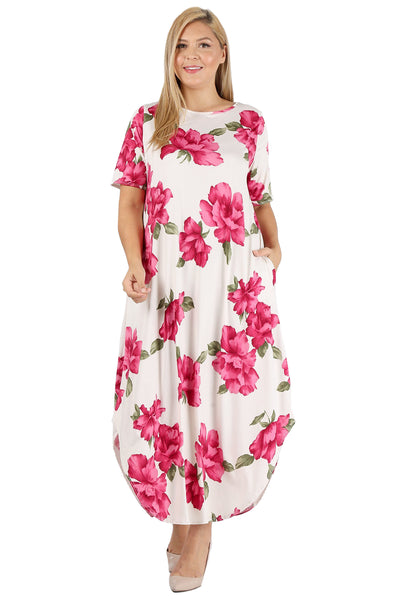 Maxi Dress with Pockets in Plus Size Print