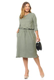 Two-Tone Midi Dress with Pockets