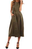 Cotton A-Line Midi Dress With Pocket Small Olive
