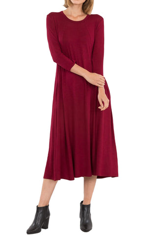 Multi Princess Seam A-Line Midi Dress with Pockets