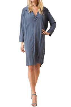 Texture Shirt Dress with Collar and Pleats