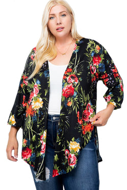 Floral Three-Quarter Sleeve Cardigan