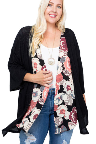 Floral Solid Contrast Cardigan Plus Size