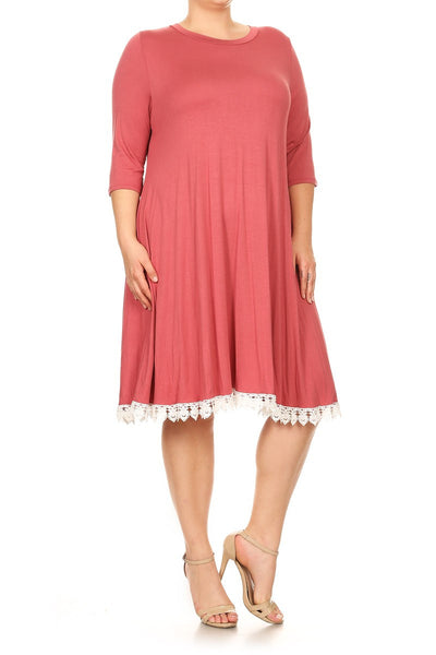 A-Line Midi Dress with Crochet Hemline