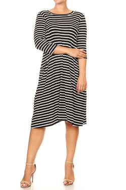 Bamboo Striped Knit A-Line Dress with Pockets