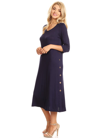 Jersey Knit A-Line Midi Dress with Button Detail