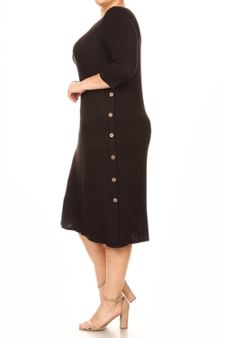 Jersey Knit A-Line Midi Dress with Button Detail Plus