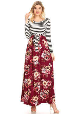 Contrast Maxi Dress with Tie Belt