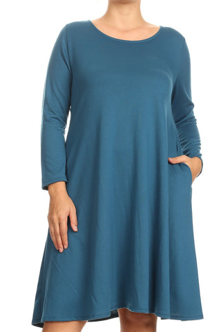 French Terry Trapeze Dress in Plus Size