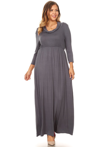 Maxi Dress with Cowl Neck in Plus Size