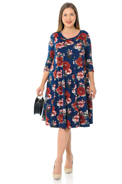 A-Line Trapeze Midi Dress Plus Size Floral Print