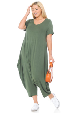 Short Sleeve Harem Jumpsuit Plus Size