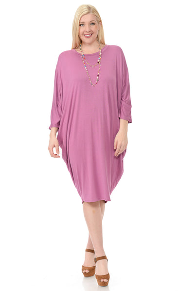 Side Draped Dolman Sleeve Plus Dress