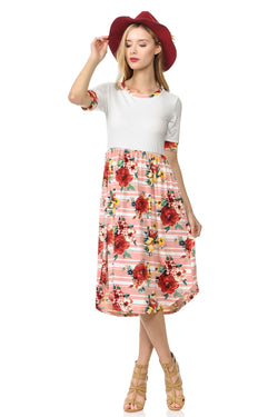Contrast Binding and Skirt Midi Dress