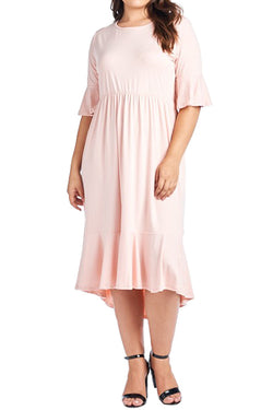 Bell Sleeve Midi Dress in Plus Size