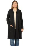 Open Front Cardigan with Slouchy Pockets in Plus Size