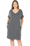 Rolled Sleeve Dress in Plus Size