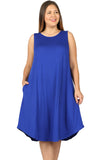 Sleeveless Trapeze Dress in Plus Size