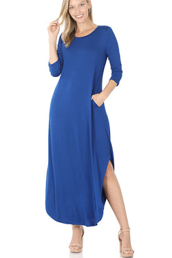 Round Hem Maxi Dress with Pockets