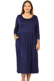 Midi Dress with Pockets in Plus Size