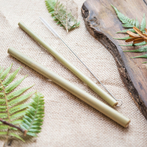 Purely Natural NZ - Bamboo Drinking Straws  (Set of 2 + Brush + Cotton Carry Bag)
