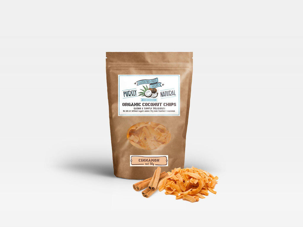 Purely Natural Coconut Chips Organic - Cinnamon - Purely Natural NZ