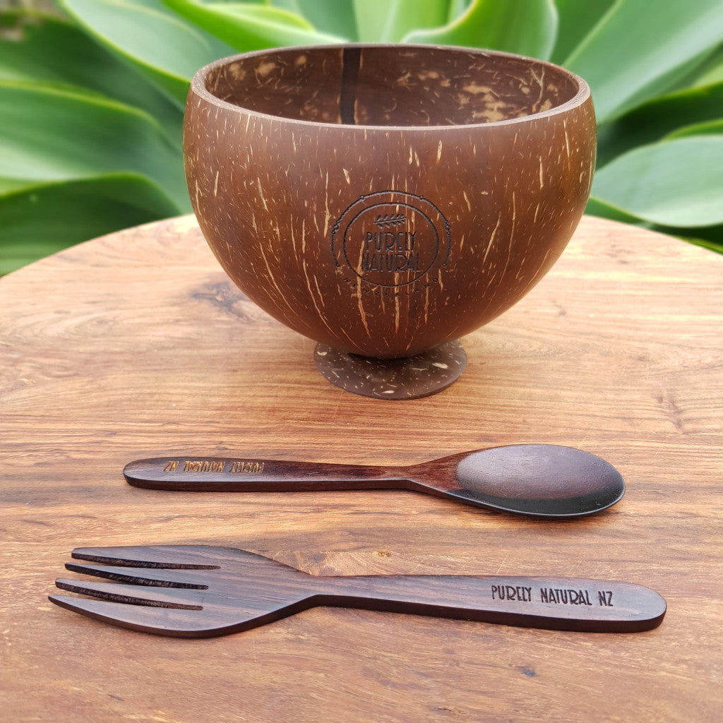 Coconut Bowl W Stand - Spoon and Fork Set