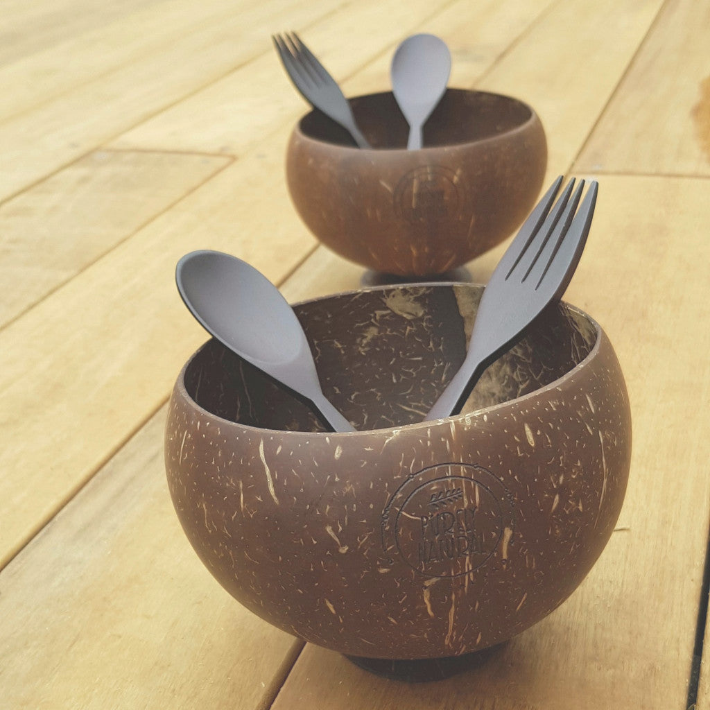 Coconut Bowl W Stand - Spoon and Fork Set of 2