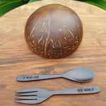 Jumbo Coconut Bowl  Spoon and Fork Set