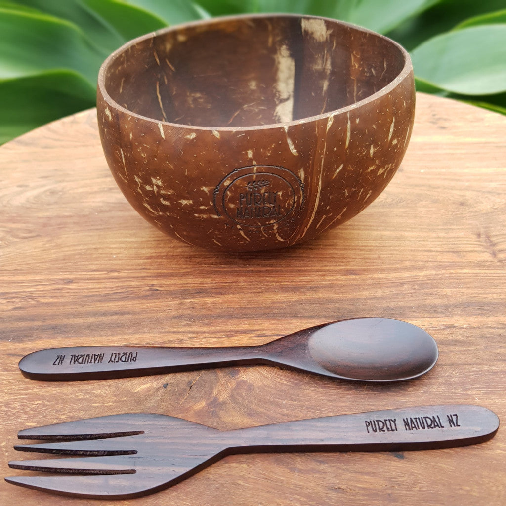 Coconut Bowl Jumbo - Spoon and Fork Set (Smooth)