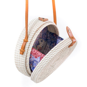 Large Balinese Handmade Rattan Bag - White