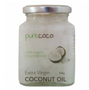 Pure Coco Extra Virgin Coconut Oil - Glass Jar 234gms (270ml) - Purely Natural NZ