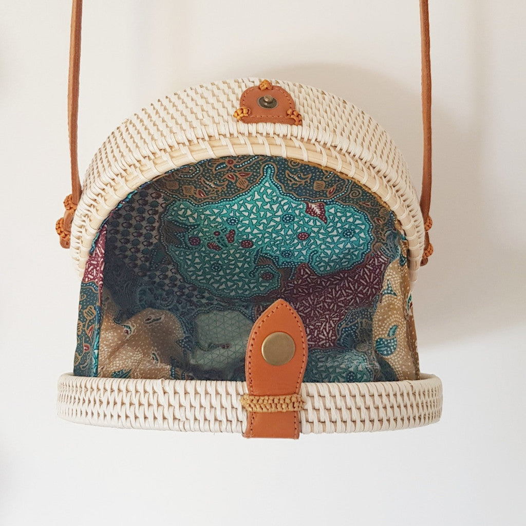 Small Balinese Handmade Rattan Bag - White