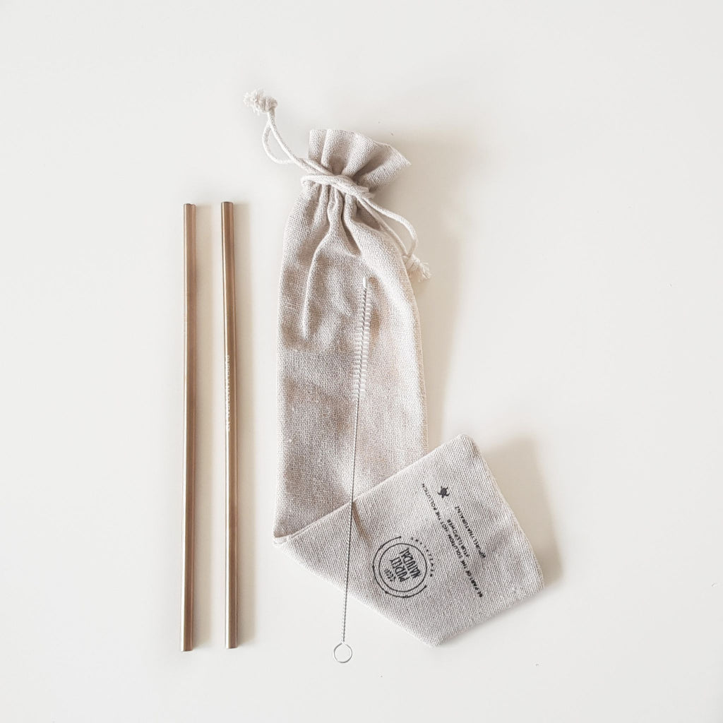 Purely Natural NZ - Rose Gold Tall Drinking  Straws  (2 Pack + Cleaner)