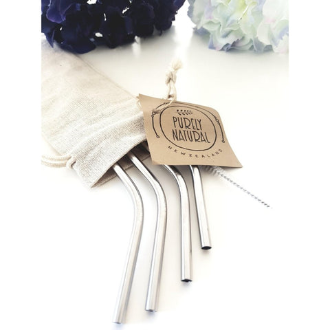Purely Natural NZ - Reusable Bent Drinking  Straws - (Standard Size 4  Pack)