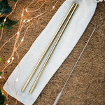 Purely Natural NZ - Reusable Straight Drinking Straws (Gold 2 Pack Standard Size)
