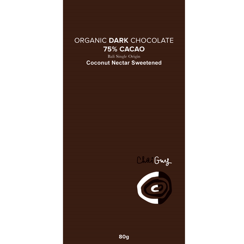 Chaiguy Raw DARK Organic 75% Chocolate - 80g - Purely Natural NZ