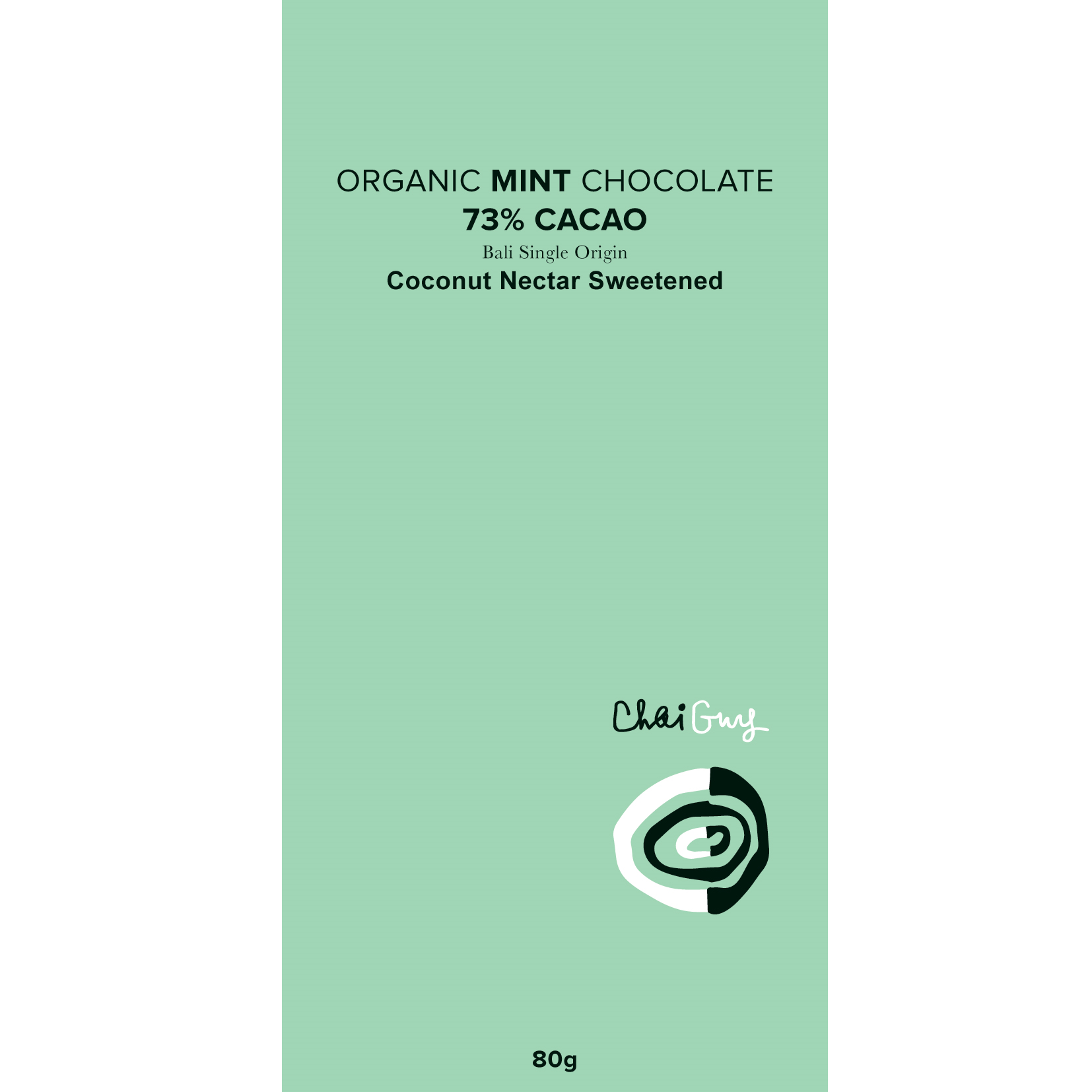 Chaiguy Raw MINT Organic 73% Chocolate - 80g - Purely Natural NZ