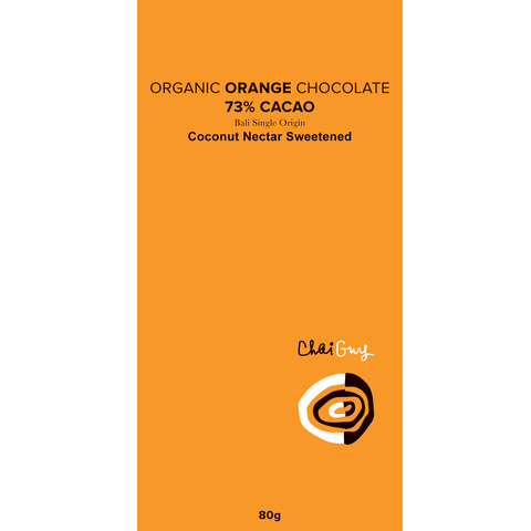 Chaiguy Raw ORANGE Organic 73% Chocolate - 80g - Purely Natural NZ