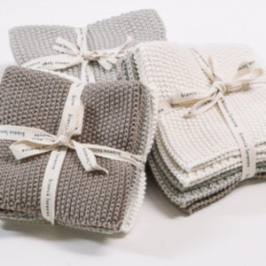 100% Soft Cotton Knitted Washcloths - Set of 3