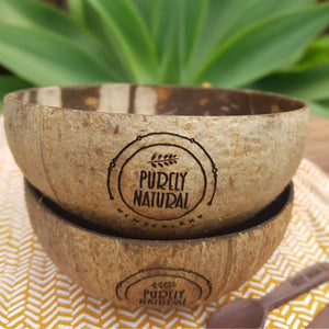 Purely Natural NZ - Coconut Bowls  Natural  (2 set + mini Rosewood Spoons)