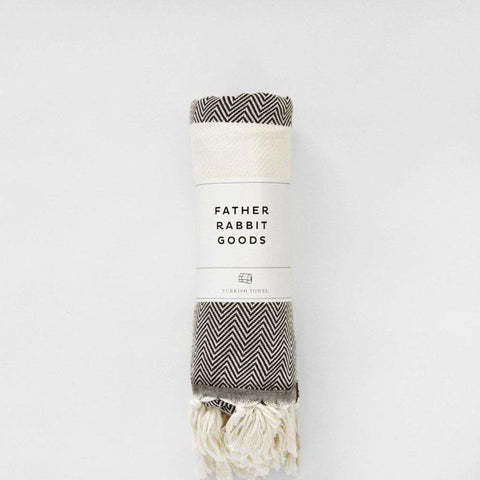 Father Rabbit Goods -  Turkish Towel The Herringbone Black & Natural - Purely Natural NZ