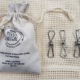 Purely Natural NZ - Marine Grade Stainless Steel Clothes Pegs  (Bag of 20)