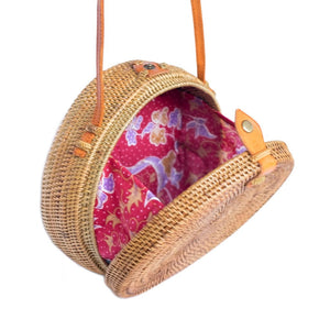 Large Balinese Handmade Rattan Bag  - Tan
