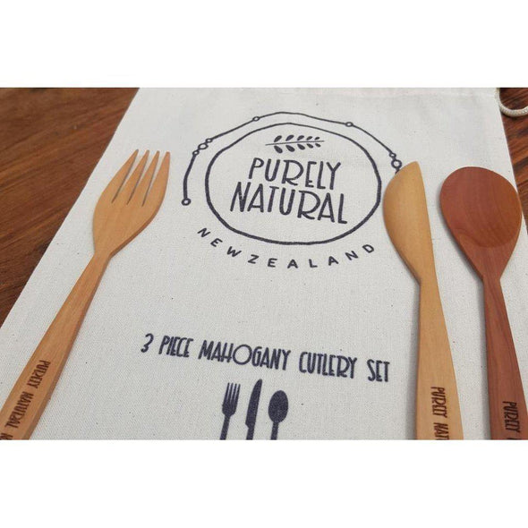 Purely Natural NZ - 3 Piece Mahogany Cutlery Picnic Set