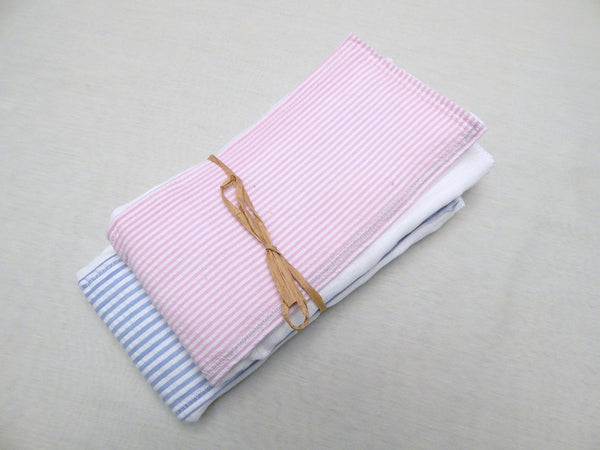 Pink & Blue Seersucker Baby Girl Burp Cloth 2 Piece Set