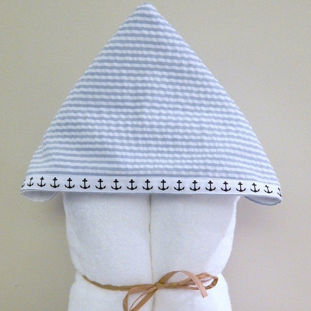 Blue Seersucker and Anchor Hooded Towel
