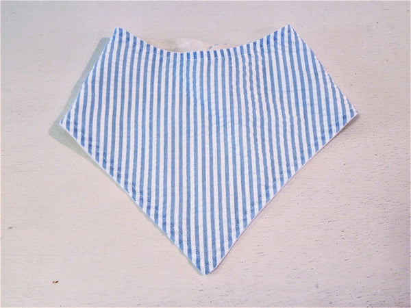 Blue Seersucker Boy Baby to Toddler Bibdana Bandana Bib