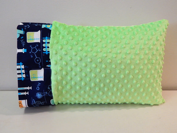 "I Love Science Blue & Lime 12""x16"" Toddler Minky & Cotton Trim Pillowcase"