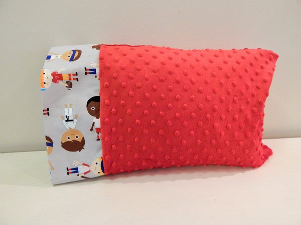 "Varsity Boys Sports Kids 12""x16"" Toddler Minky & Cotton Trim Pillowcase"